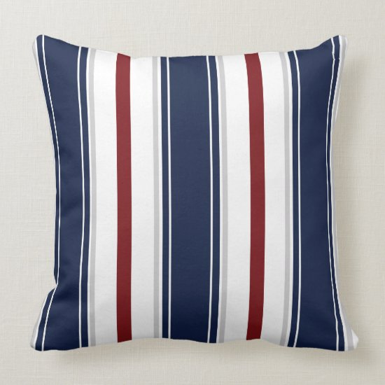 Navy Deep Red Gray White Vertical Stripes  | Throw Pillow