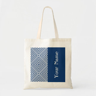 Navy Diamond Chevron w/ name @ Emporiomoffa Tote Bag