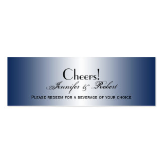 Navy Diamond Rounded Corners Wedding Drink Ticket Double-Sided Mini Business Cards (Pack Of 20)