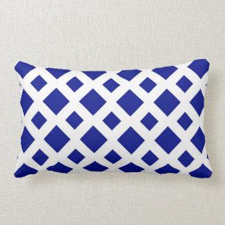 Navy Diamonds on White Pillows