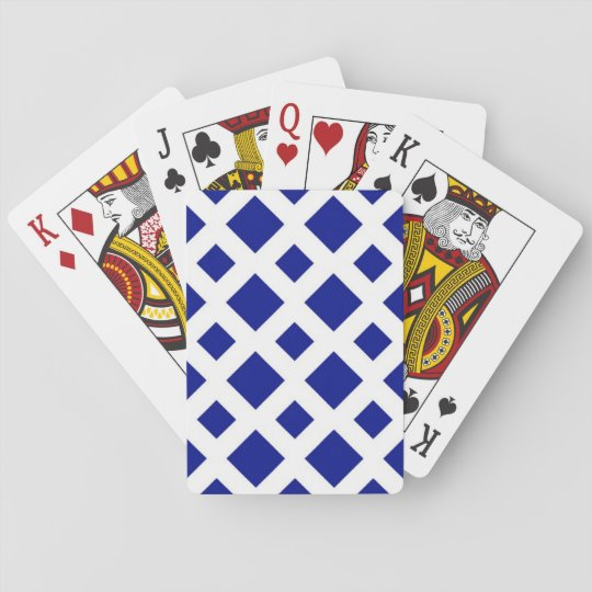 Navy Diamonds on White Playing Cards