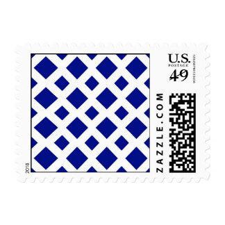 Navy Diamonds on White Postage