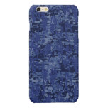 Navy Digital Camo Background Ready to Customize Glossy iPhone 6 Plus Case