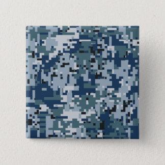 Navy  Digital Camo Camouflage Decor Pinback Button