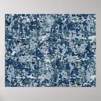 Navy  Digital Camo Camouflage Decor Poster