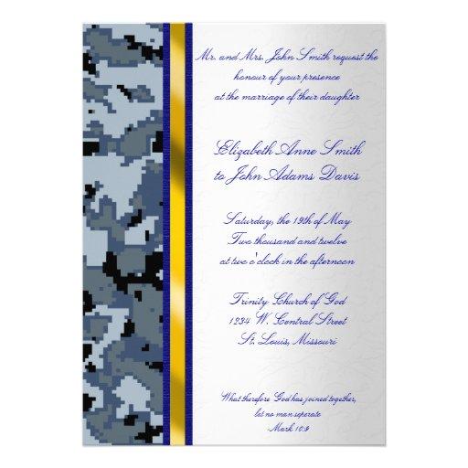 Navy Digital Camouflage Wedding Invitation
