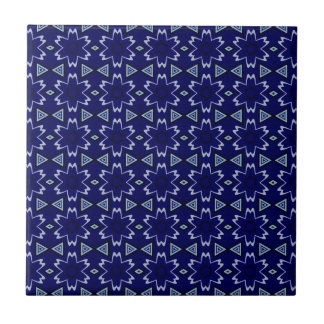 Navy Digital Floral Ceramic Tile