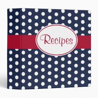 Navy Dot Kitchen Recipe Organizer Binder