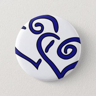 Navy Double Heart Button