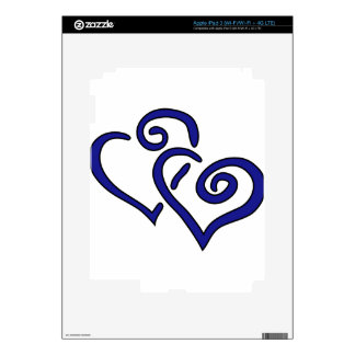 Navy Double Heart iPad 3 Skin