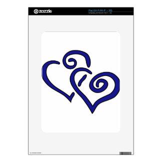 Navy Double Heart iPad Skin