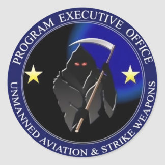 Navy Drone Grim Reaper Classic Round Sticker