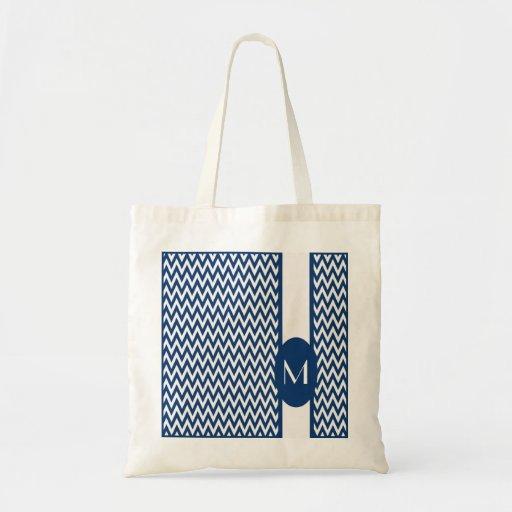 Navy Elegant Chevron Design with monogram Bags