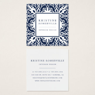 Navy | Elegant Moroccan Style Square Square Business Card
