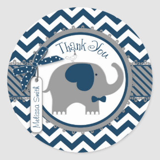 Navy Elephant and Chevron Print Thank You Classic Round Sticker