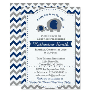 Navy Elephant Baby Shower Invitations