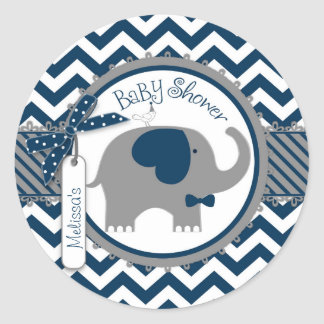 Navy Elephant Bow-tie Chevron Print Baby Shower Classic Round Sticker
