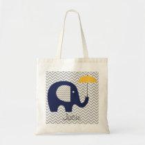 Navy Elephant Yellow Umbrella Custom Bag