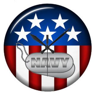 Navy Emblem Seal Insignia Badge Logo Design #1 Large Clock