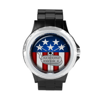 Navy Emblem Seal Insignia Badge Logo Design #1 Wristwatch