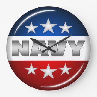 Navy Emblem Seal Insignia Badge Logo Design #2 Wall Clocks
