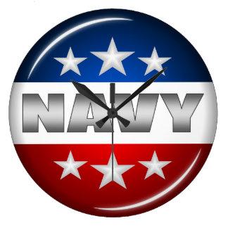 Navy Emblem Seal Insignia Badge Logo Design #2 Large Clock