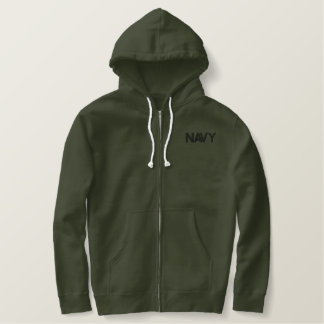 NAVY EMBROIDERED HOODIE
