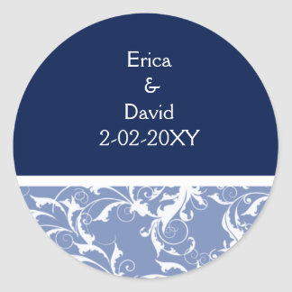navy envelope seal classic round sticker