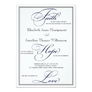 Navy Faith Hope Love Script Wedding Invitation
