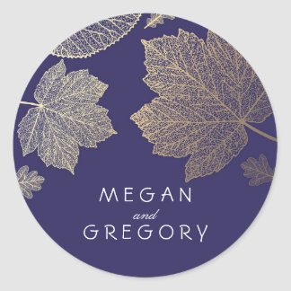 Navy Fall Gold Leaves Wedding Classic Round Sticker