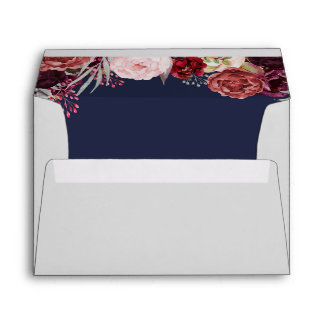 Navy Fall Marsala Blush Peony Wedding Envelopes