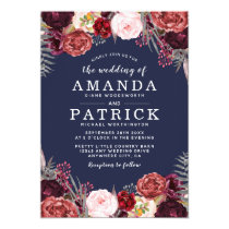 Navy Fall Marsala Blush Peony Wedding Invitations