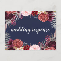 Navy Fall Marsala Peony Wedding RSVP Postcards
