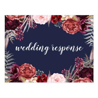 Navy Fall Marsala Peony Wedding RSVP Postcards
