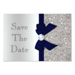 Navy Faux Bow & Diamonds Silver Save The Date Card