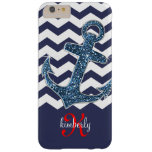 Navy Faux Glitter Anchor Chevron Personalized Barely There iPhone 6 Plus Case