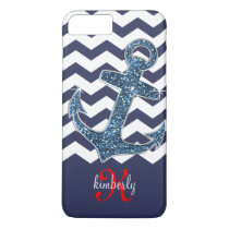 Navy Faux Glitter Anchor Chevron Personalized iPhone 7 Plus Case