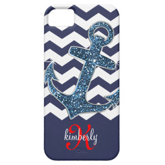 Navy Faux Glitter Anchor Chevron Personalized iPhone SE/5/5s Case