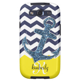 Navy Faux Glitter Anchor Chevron Personalized Samsung Galaxy SIII Case