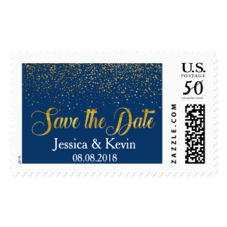 Navy Faux Gold Foil Confetti Dots Save the Date Postage