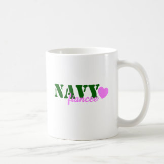 Navy Fiancee Green Pink Heart Coffee Mug