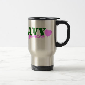 Navy Fiancee Green Pink Heart Travel Mug