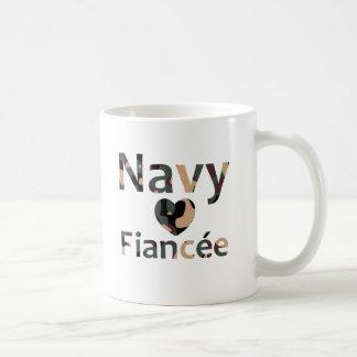 Navy Fiancee Heart Camo Coffee Mug