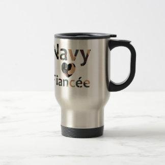 Navy Fiancee Heart Camo Travel Mug