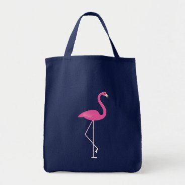 Beach Themed Navy Flamingo Budget Tote