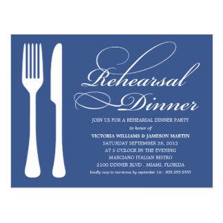 NAVY FLATWARE | REHEARSAL DINNER INVITE POSTCARD