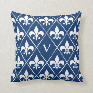 Navy Fleur de Lis with monogram initial Throw Pillow