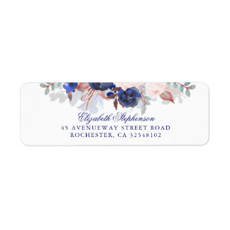 Navy Floral Boho Chic Wedding Label
