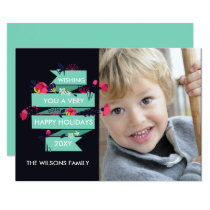 navy floral bouquet Photo Holiday Greetings Card