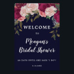 "navy floral bridal shower welcome sign<br><div class=""desc"">A beautiful way to welcome the guests at your bridal shower. With a navy background and burgundy and pink blush florals. Easy to edit the text fields shown to personalise your sign to suit you! Some graphics used from TwigsAndTwineArt.com. Lots of matching items in this elegant collection, please visit my...</div>"